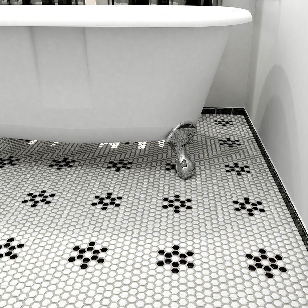 Black And White Hexagon Mosaic Floor Tile | http://nextsoft21.com ...