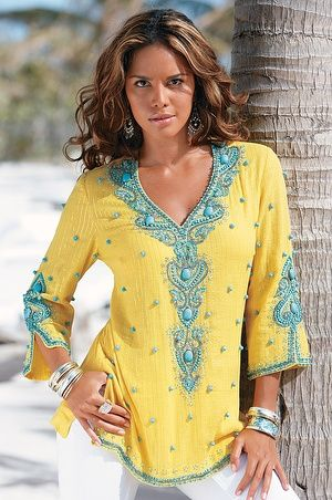 Boston Proper Turquoise baubles tunic #bostonproper