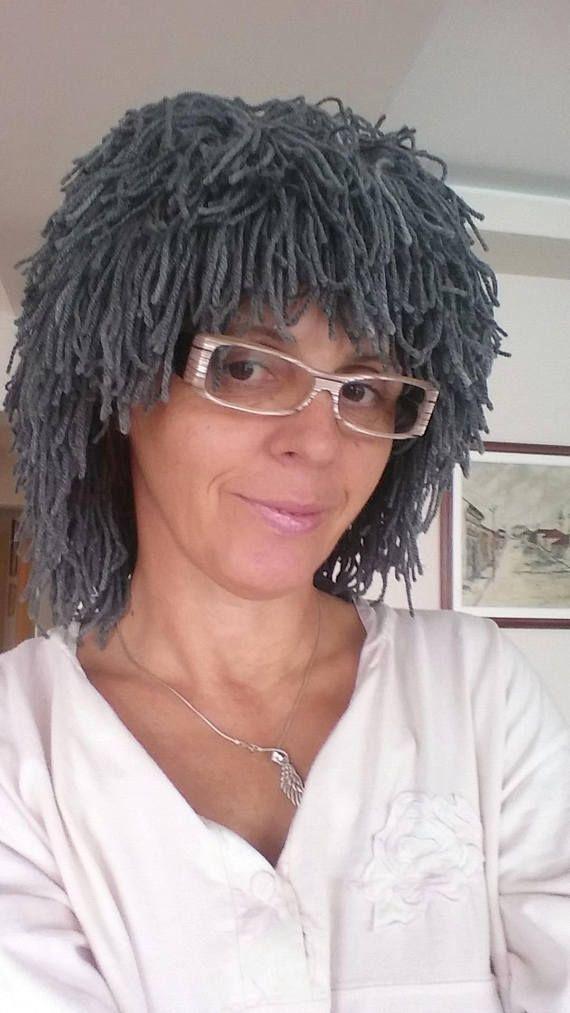 Gray hair hat Halloween Wig Beanie with Beard Crochet beard beanie Yarn hair hat Crazy festival Gift for him Cap Knit wig Wild man wig #crochetedbeards