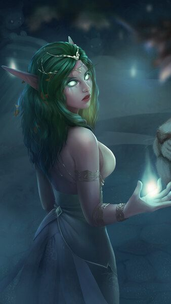 Tyrande Whisperwind WoW Elf Fantasy Girl White Tiger 4K HD