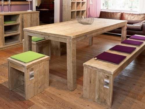 Mesa De Comedor Echa En Abeto Canadiense Reciclado | Cocinas ...