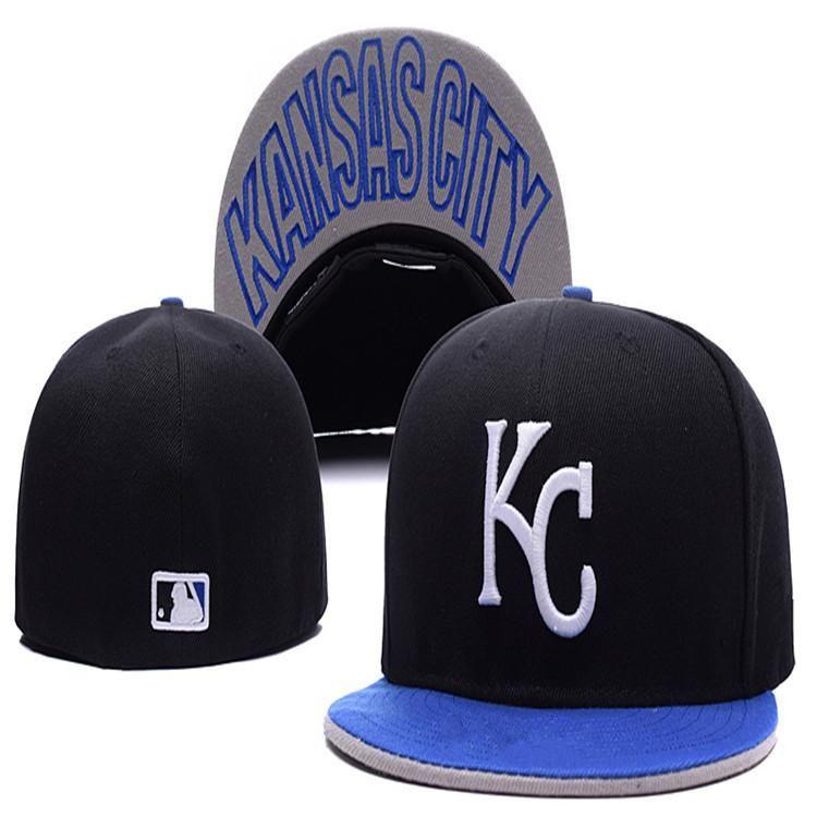 Wholesale Cheap  Kansas City  Royals KC letter Fitted Hats embroidery  baseball cap flat-brim hat team size baseball cap 47b81618276a