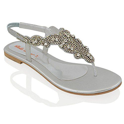 66d0d615e13d Essex Glam - Women s Sparkly Slingback Diamante Sandals - High Quality  Materials - Elasticated Back For Easy Wear - Available in Black Silver  White   Gold ...
