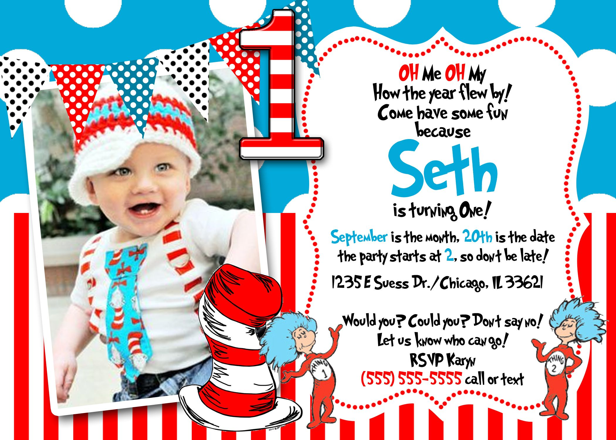 Download Now FREE Template Dr Seuss 1st Birthday Invitations | Baby ...