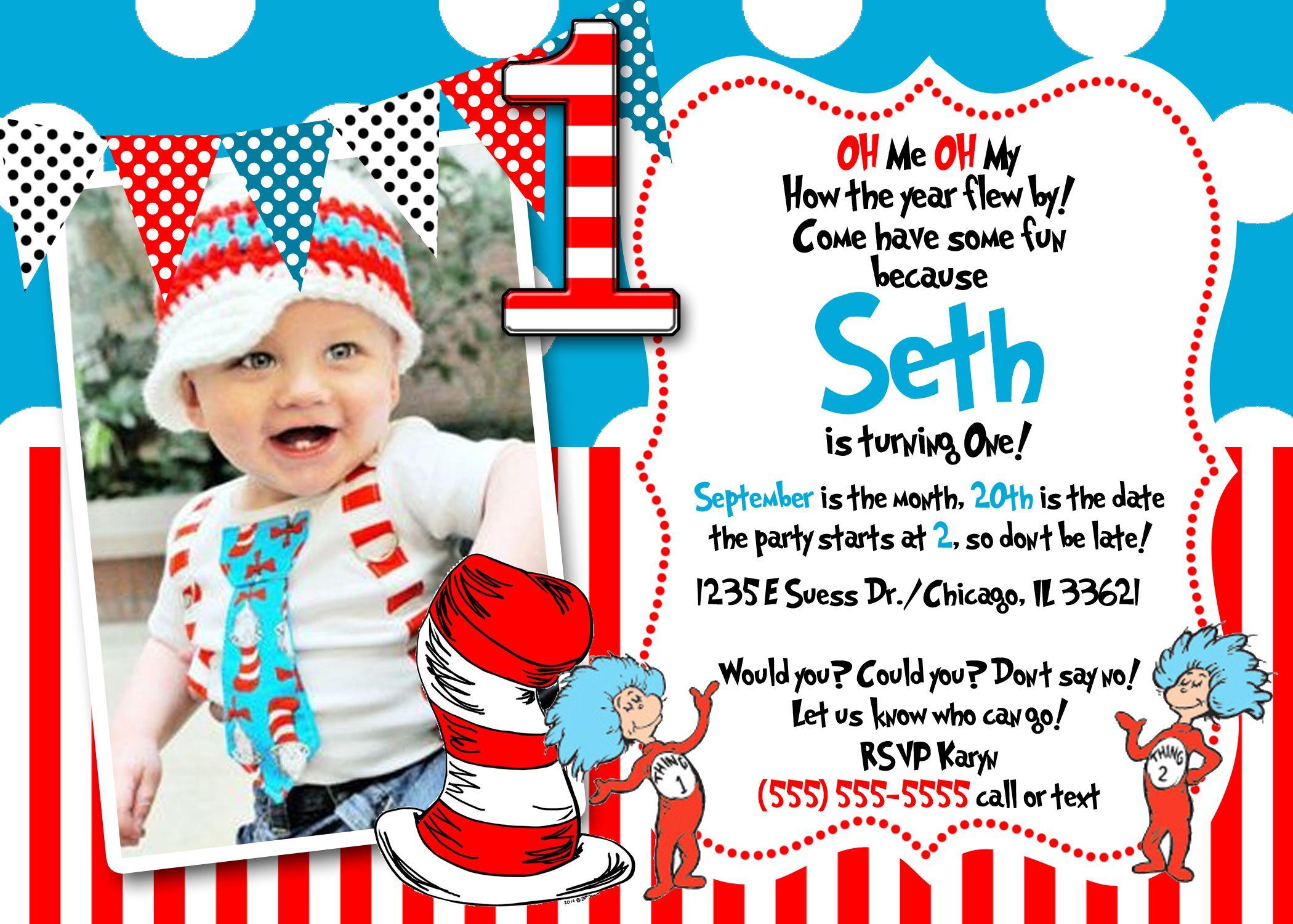 Dr Seuss First Birthday Invitations | Baby Shower Invitation Ideas | Pinterest | Birthdays, Dr ...
