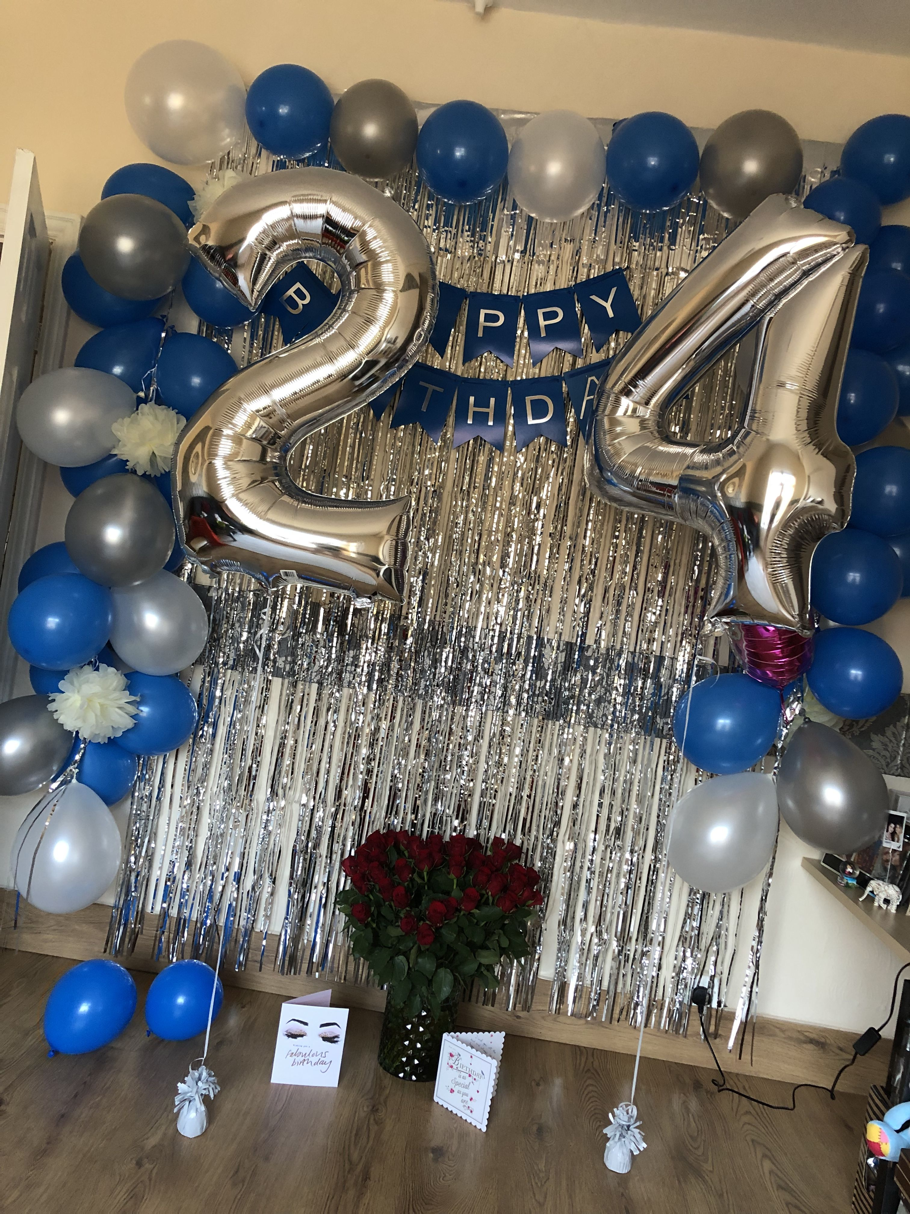 White Blue And Silver Birthday Decoration