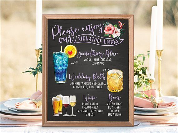 Digital Printable Wedding Bar Menu Sign, Signature Drinks Cocktails Signs Watercolor Tropical Beach Chalkboard Christmas New Year Sign IDM14#bar #beach #chalkboard #christmas #cocktails #digital #drinks #idm14 #menu #printable #sign #signature #signs #tropical #watercolor #wedding #year
