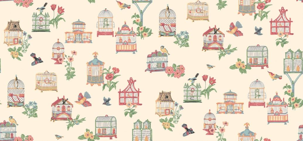 Birdcage (839-T-9923) - Thibaut Wallpapers - A pretty birdcages with a 30's feel with flowers and birds in muted colours.Wide width Vinyl Coated, Pre-pasted but we would recommend pasting again. Please request sample for true colour match. Delivery for this American wallcovering is 7-10 working days
