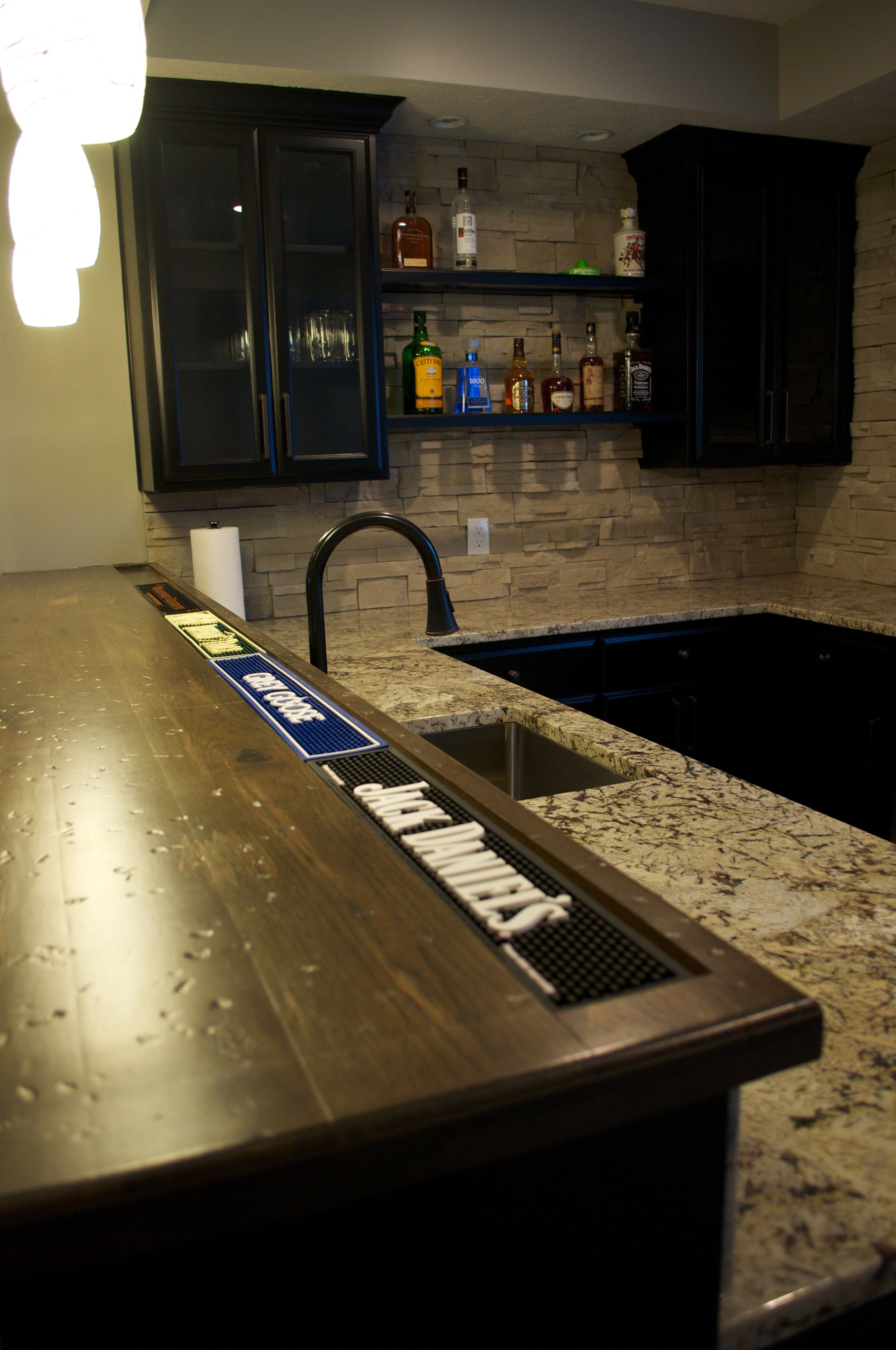 Custom Maple Cabinets With Granite Countertop On Lower Bar