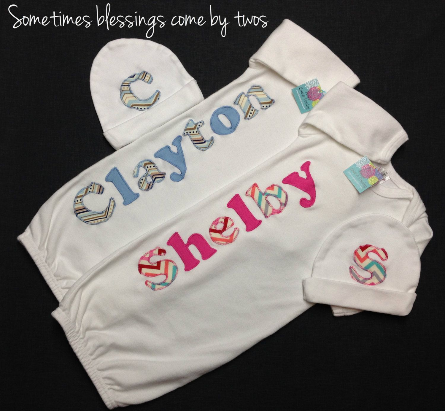 Boy girl twins personalized baby gown newborn gown infant gown boy girl twins personalized baby gown newborn gown infant gown twin going negle Choice Image