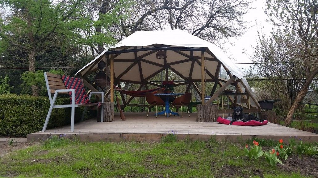 Geodesic dome pergola icosahedron Good Karma wood