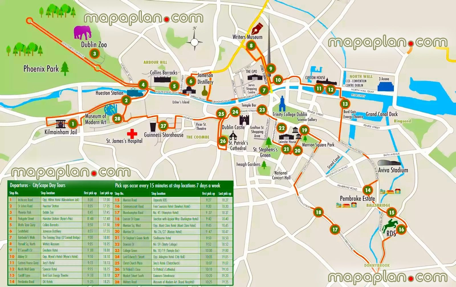 Map Of Ireland Tourist Attractions.Dublin Tourist Attraction Dublin Maps Top Tourist Attractions Free