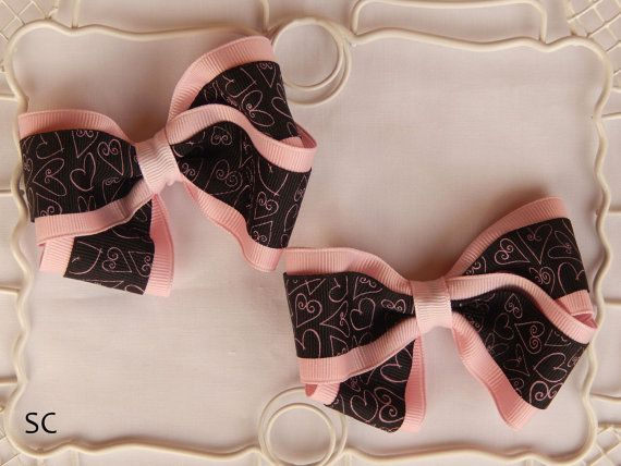 Valentines Day Boutique Bow Set Heart Ribbon by SanteenCreations, $5.50 #valentinebow #bowset