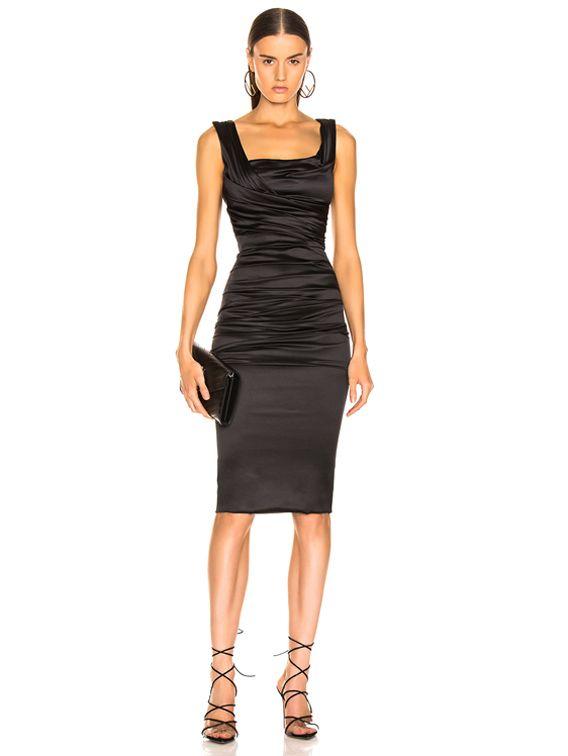 Satin Ruched Sleeveless Dress in Black #blacksleevelessdress