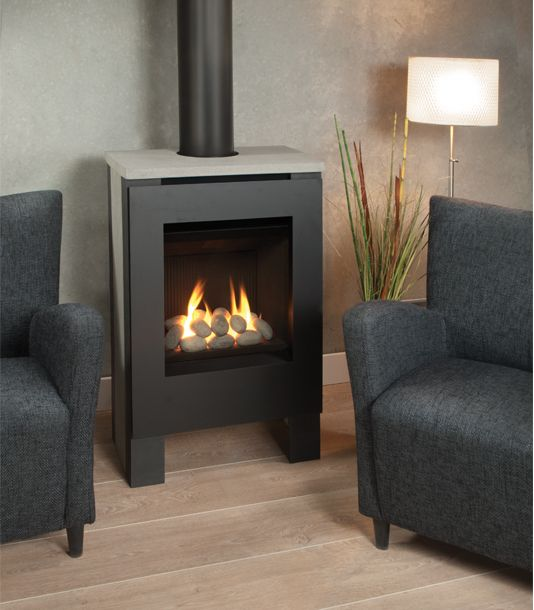 Freestanding GAS STOVE features concrete side panels and a stone
