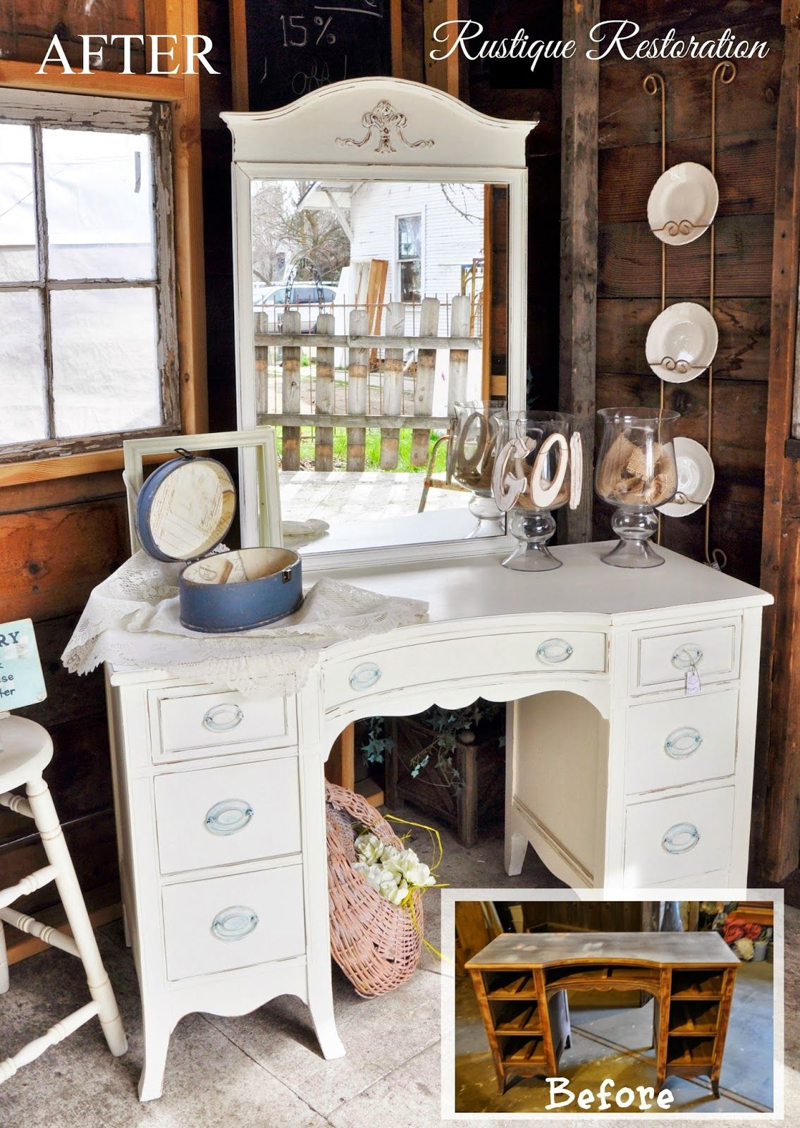 antique vanity makeover in a creamy distressed white turquoise and cream hardware at rustique restoration