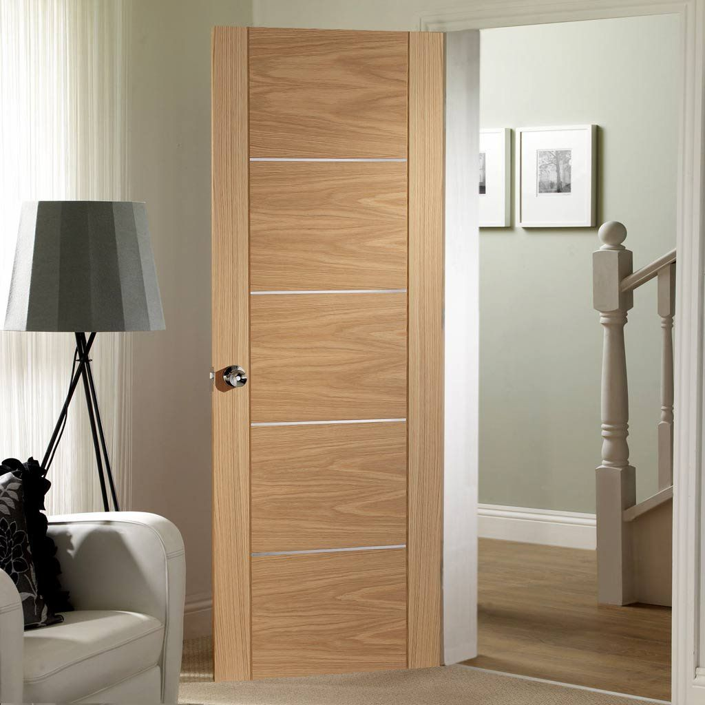 Door And Frame Kit Portici Oak Flush Door Aluminium