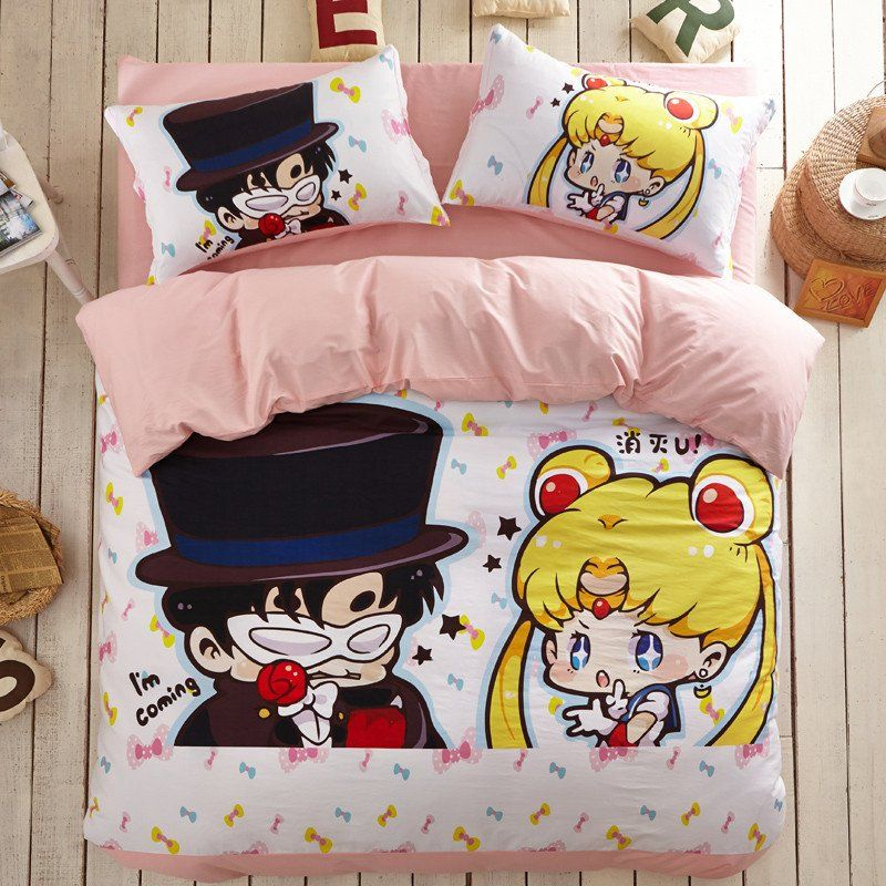 Chibi Sailor Moon And Tuxedo Mask Bedding 4 Pieces Set Sp166249