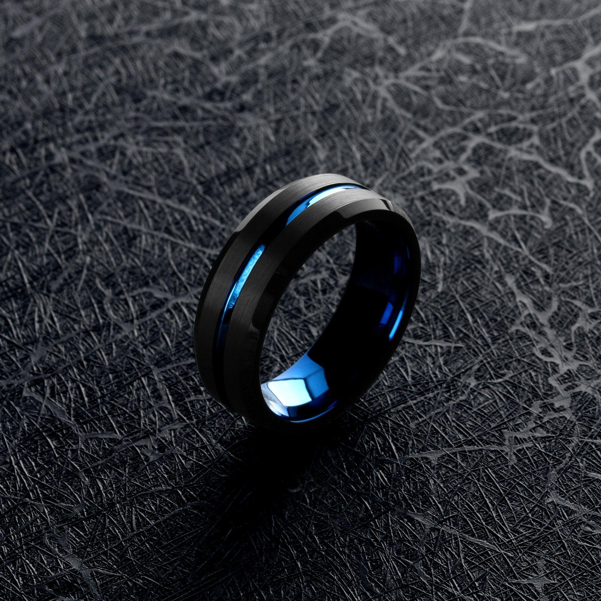 Black carved blue in 2020 mens wedding bands blue mens
