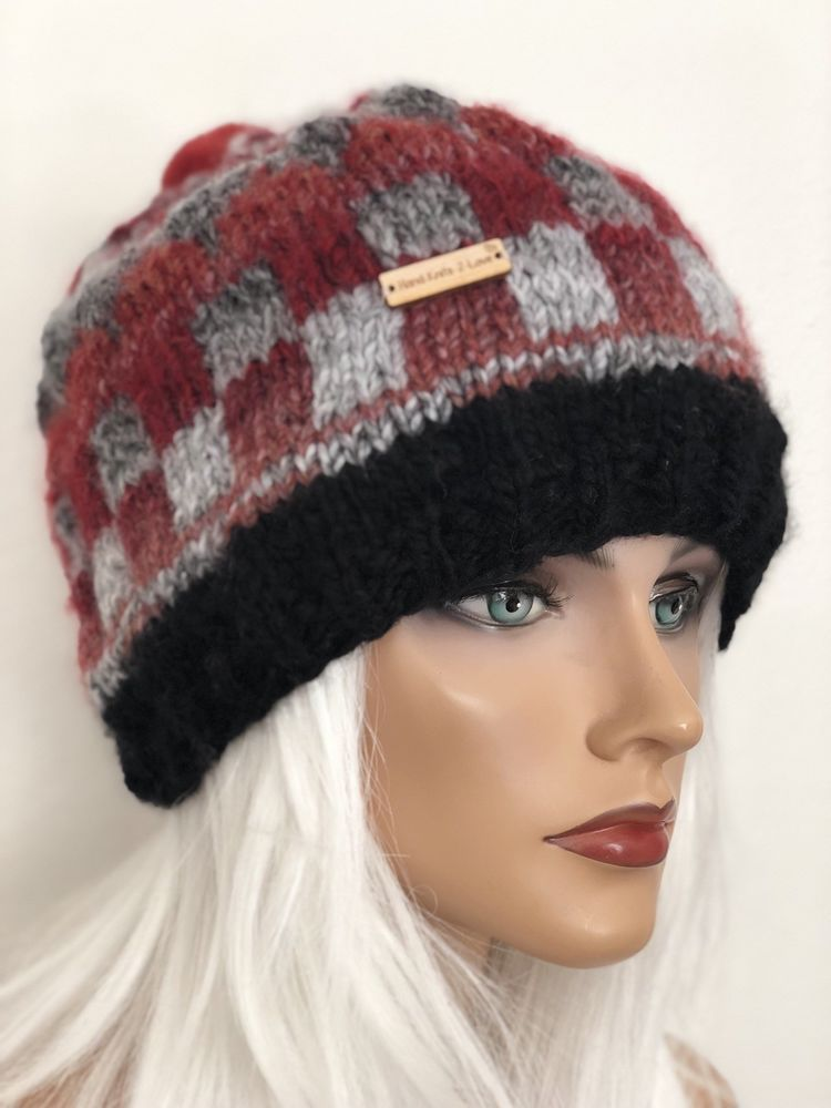dad8d967 Hand Knits 2 Love Hat Beanie Sloych Cap Checkers Winter Designer Fashion  Plaid   eBay