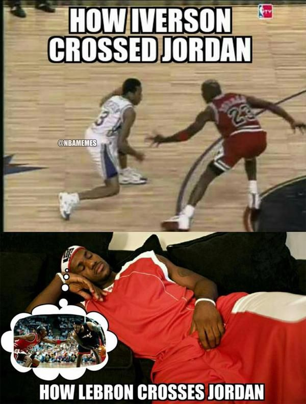 Funniest Jordan Meme : Allen iverson vs lebron james against michael jordan
