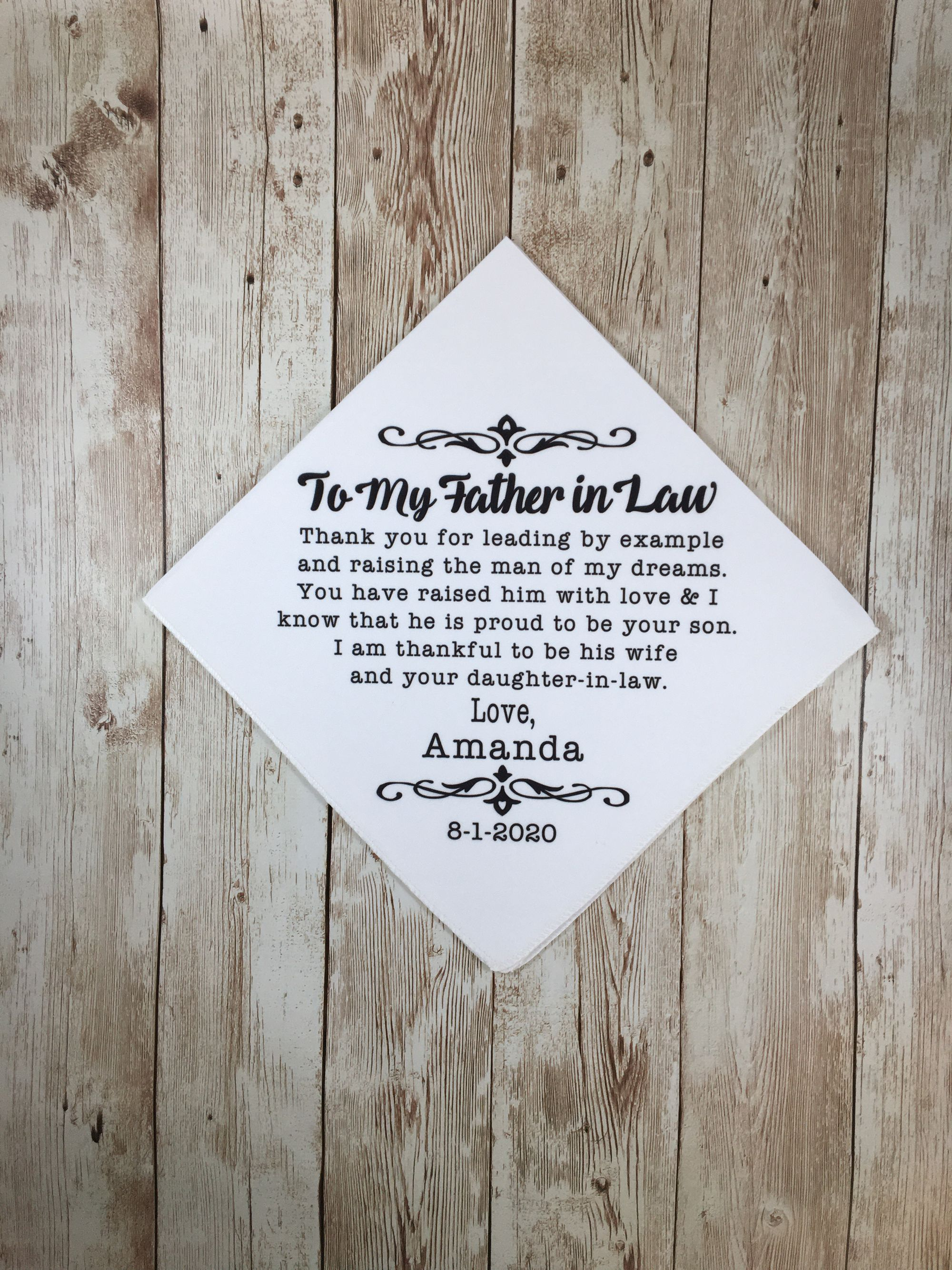 Father In Law Wedding Present Father Of The Groom Gift Customized Wedding Day Handkerchief Gift From Bride To Father In Law Wedding Gift In 2020 Personalized Handkerchief Wedding Personalized Wedding Brother Wedding Gifts