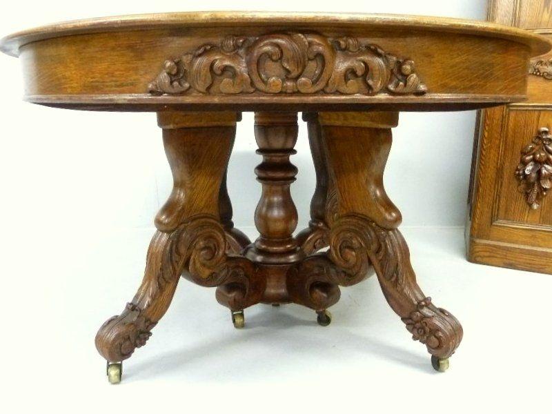 C1850 Rococo Dining Table 3pc Set Attr JHB NY Oak 53d 197 15