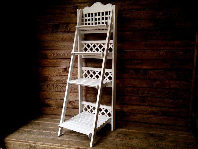Kwietnik Drewniany Stojacy Stojak Na Kwiaty Bialy 5296936827 Oficjalne Archiwum Allegro Decor Home Decor Ladder Bookcase