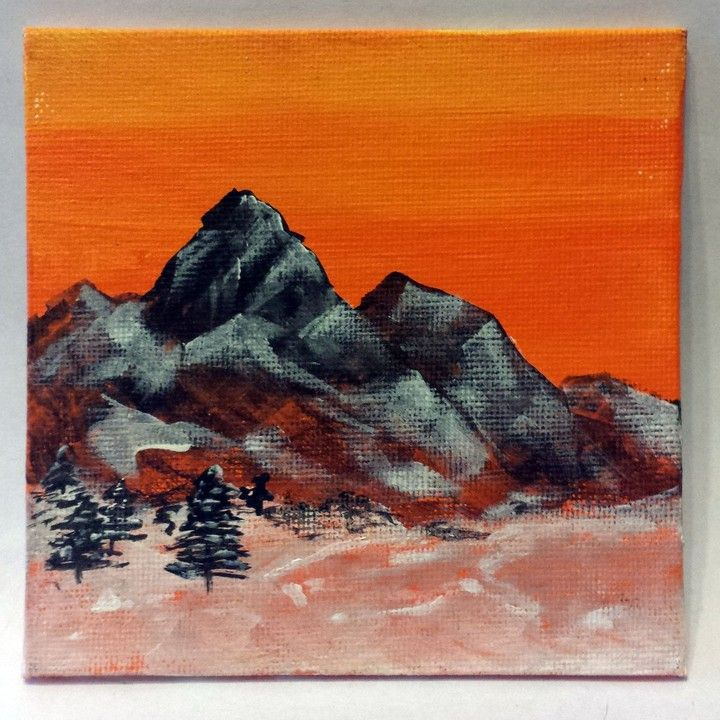 4x4 original mountain painting from Twisted Art by Kris Fairchild