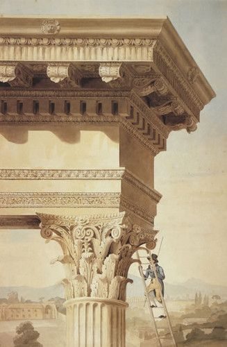Henry Parke, Royal Academy lecture drawing showing a student on a ladder, with a rod, measuring the Corinthian order of the Temple of Jupite...