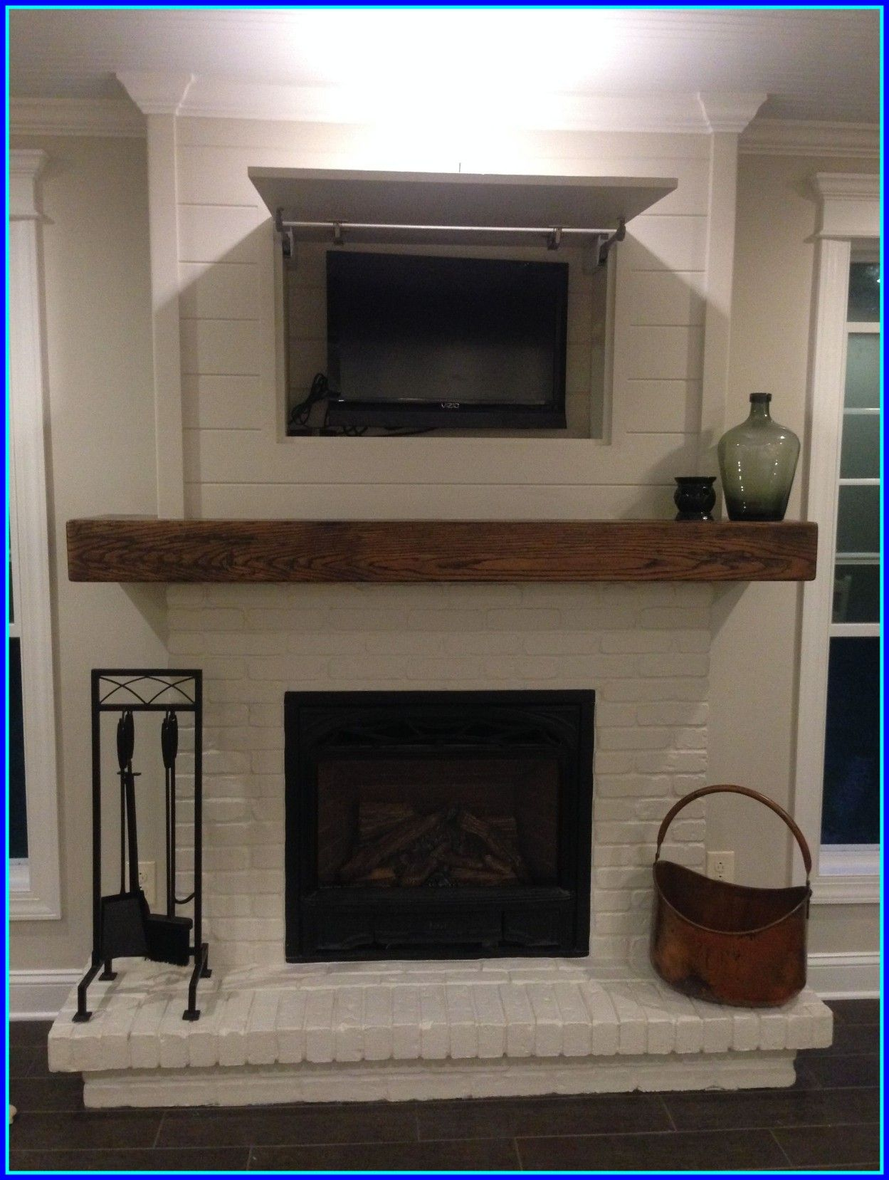 Brick Fireplace Wood Mantel Inspiring Diy Faux Fireplace And Mantel Basement Ideas