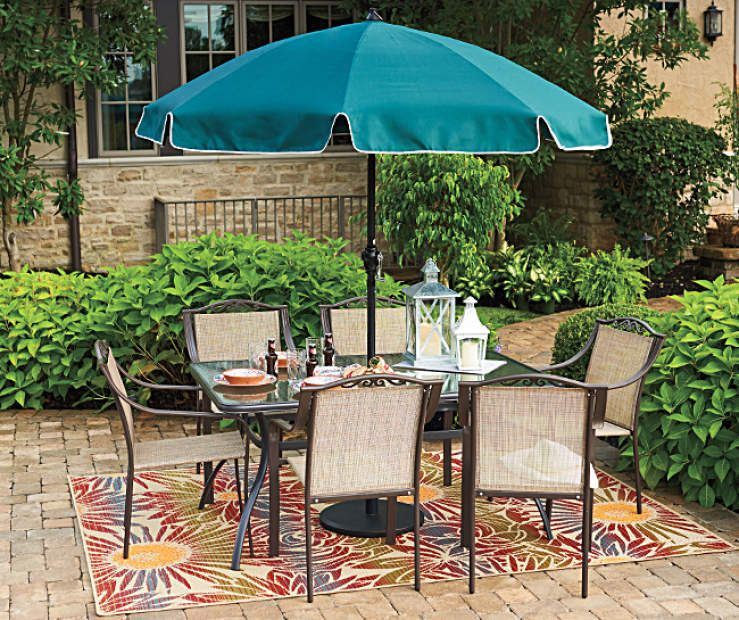 Wilson Fisher Huntington Chairs Glass Top Table Cafe Umbrella Patio Dining Set At Big Lots Patio Decor Patio Furniture Collection Patio Dining Set