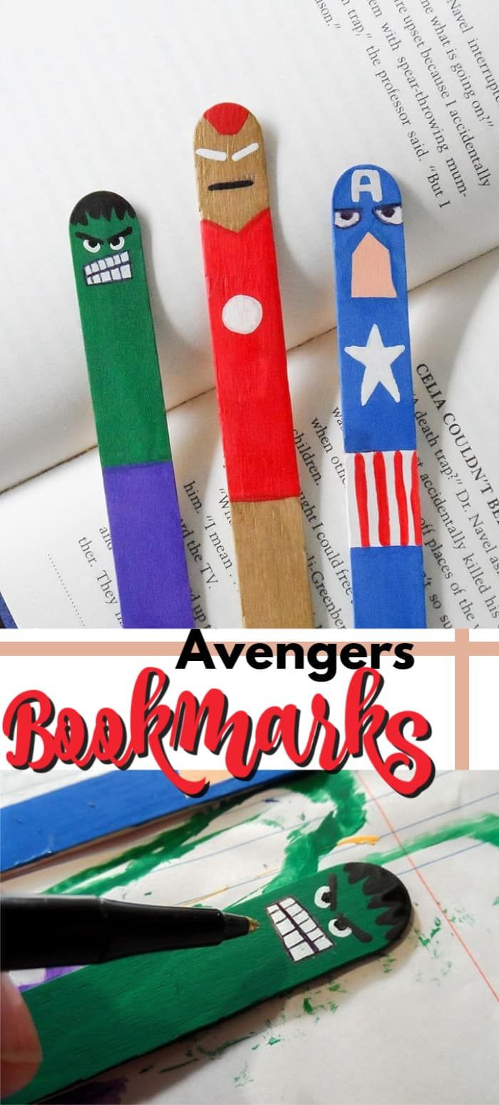 If you kids love the Avengers, these Avengers Bookmarks are the perfect craft for them. We even know some grown up Avenger fans that have made them! #avengerscrafts #avengersbookmarks #craftsticks #kidscrafts #superherocrafts #craftsforkids #backtoschool #bookmarkcrafts #thehulk #captainamerica #ironman #hulk #superherocrafts