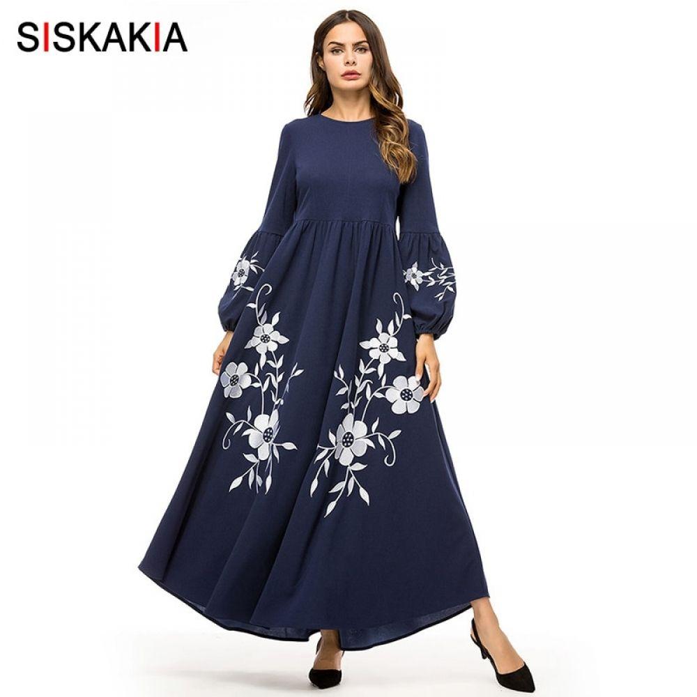 ee610fdcf3b25 Siskakia Elegant Vintage Floral Embroidery Women Long Dress High ...