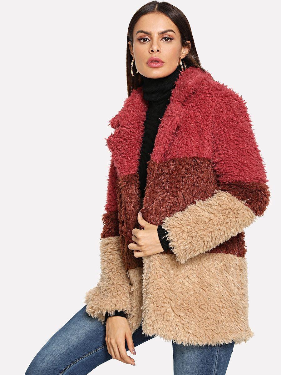 54510f4440 Colorblock Faux Fur Teddy Coat -SheIn(Sheinside) | II FASHION ...