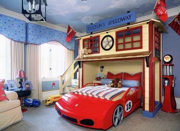 Kinderzimmer gestalten junge auto  kompakt kinderbetten rot auto jungen | Kinderzimmer | Pinterest ...