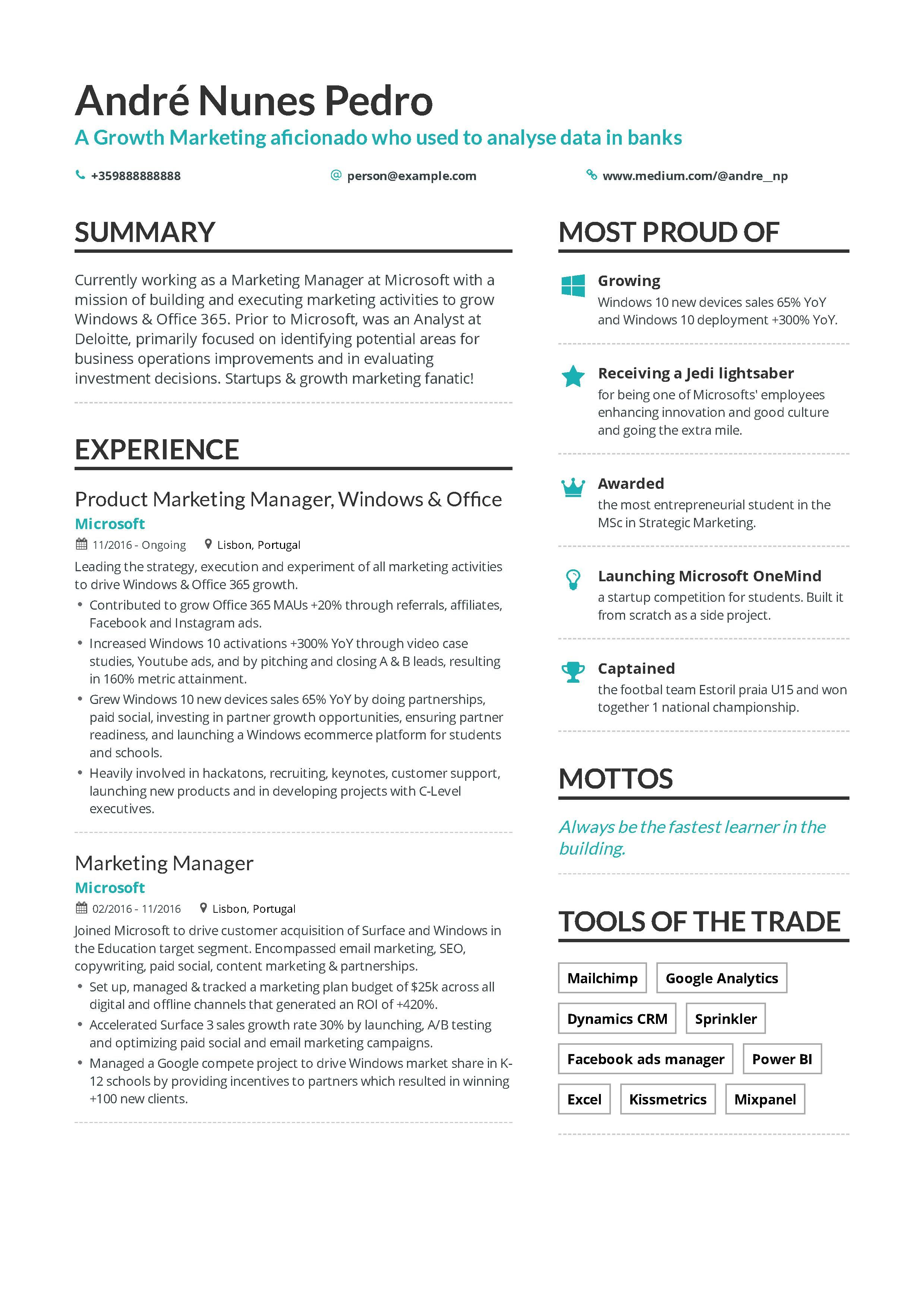 Growth Marketing Resume Example And Guide For 2019 Resume Examples Marketing Resume Growth Marketing