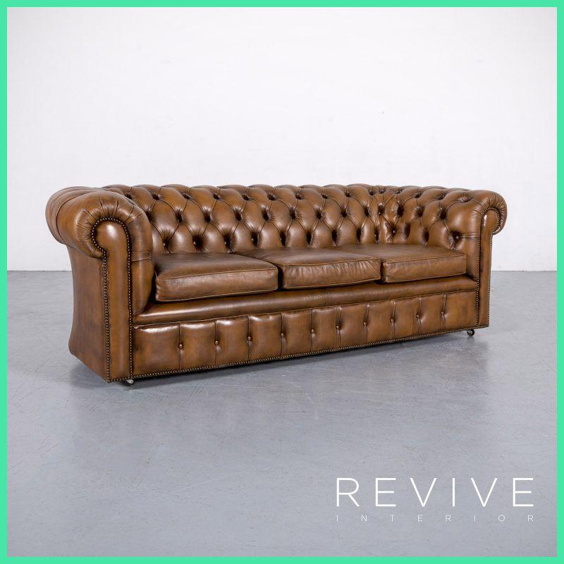 Chesterfield Leder Sofa Cognac Braun Braun Dreisitzer Couch