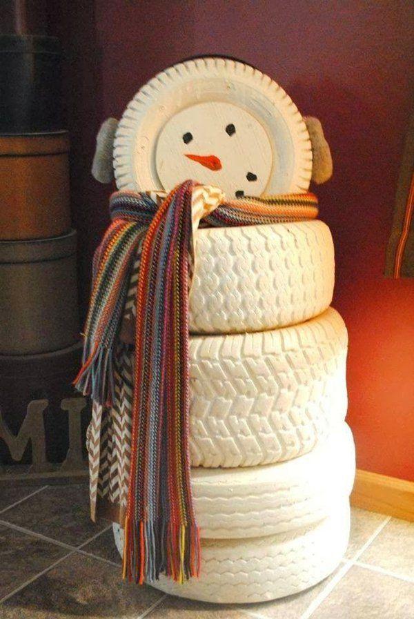 DIY Möbel weihnachten Autoreifen autoreifen recycling schneemann - alte autoreifen deko