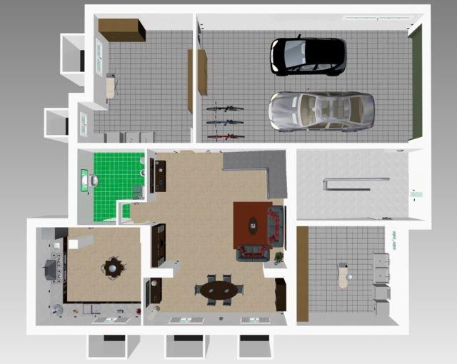 TOTAL RENDERING di fabbricato bifamiliare di prossima realizzazione - planimetria 3d piano seminterrato