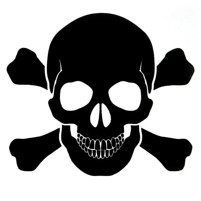 Opsgear black skull and bones decal 3 x 3 black skulls