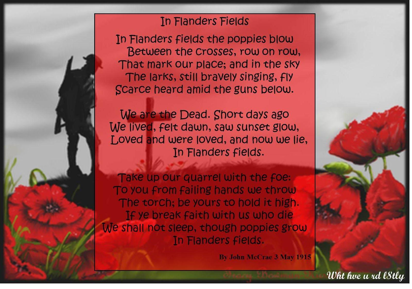 In Flanders Fields Poem Found Copies Of Both Poems Inflanders
