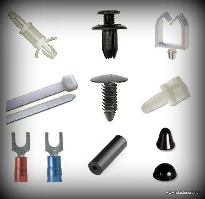 Standoffs,  cable ties,  spacers, . Christmas tree clips,  bumpers,  circuit board hardware and more.