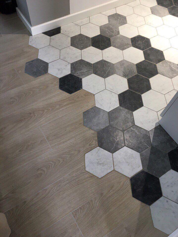 Carreaux Hexagonaux Hexagonal Noir Blanc Gris Melange Tuile