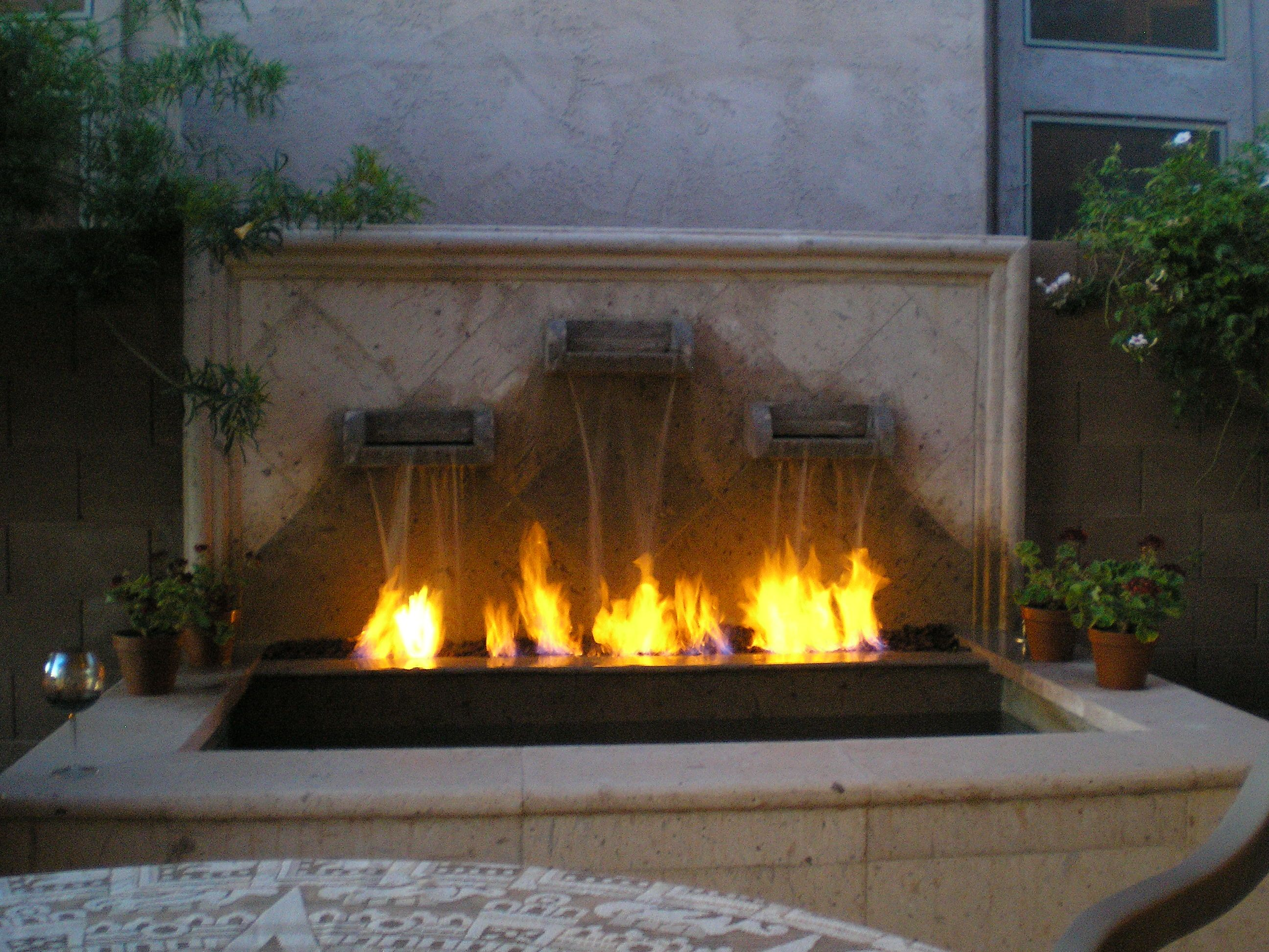 Outdoor Gas Fireplace And Water Fountain