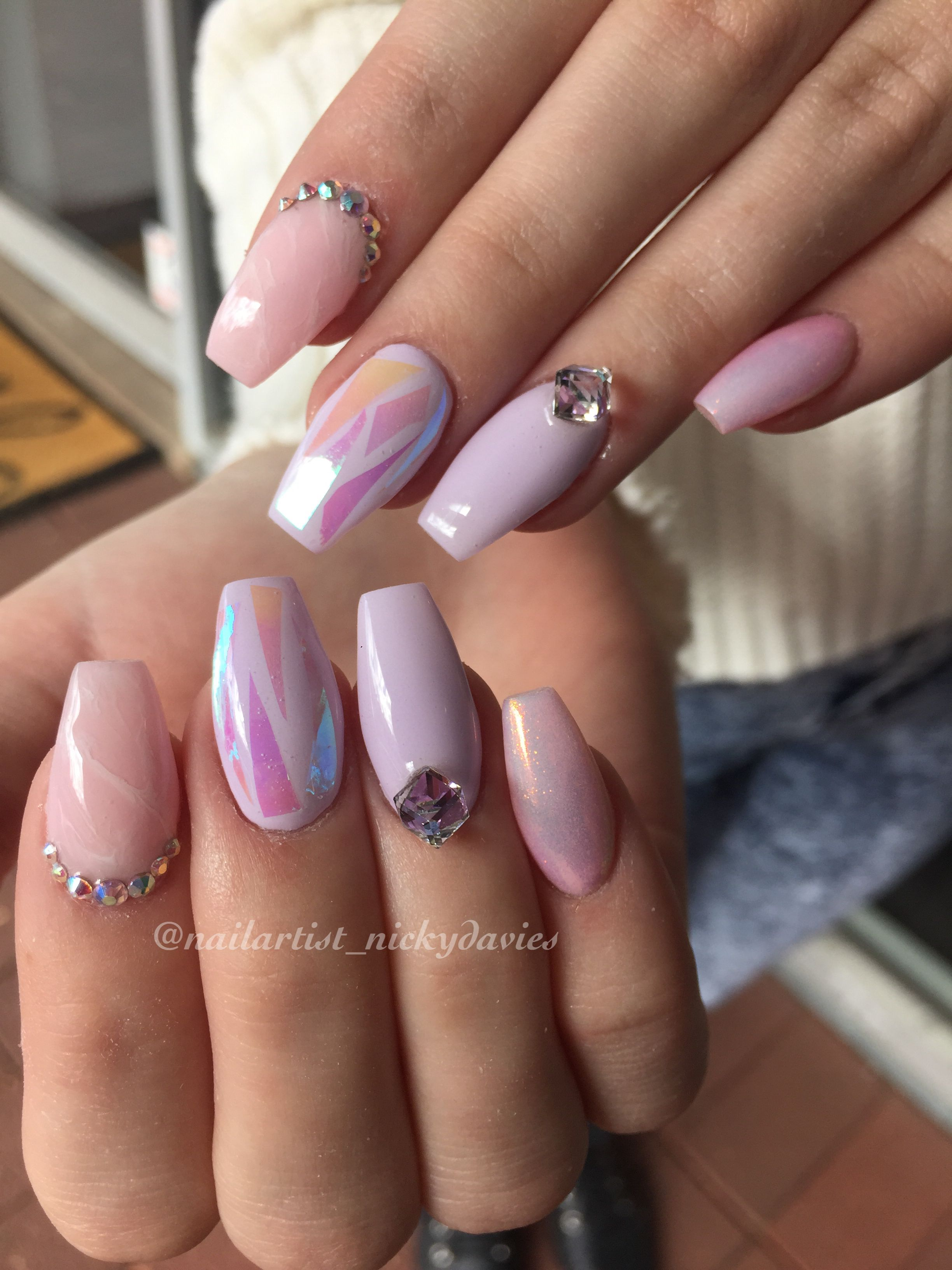 Cotton candy nails, pastel nails, unicorn nails