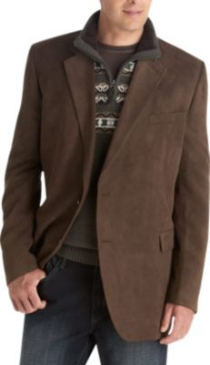 brown microsuede portly sport coat