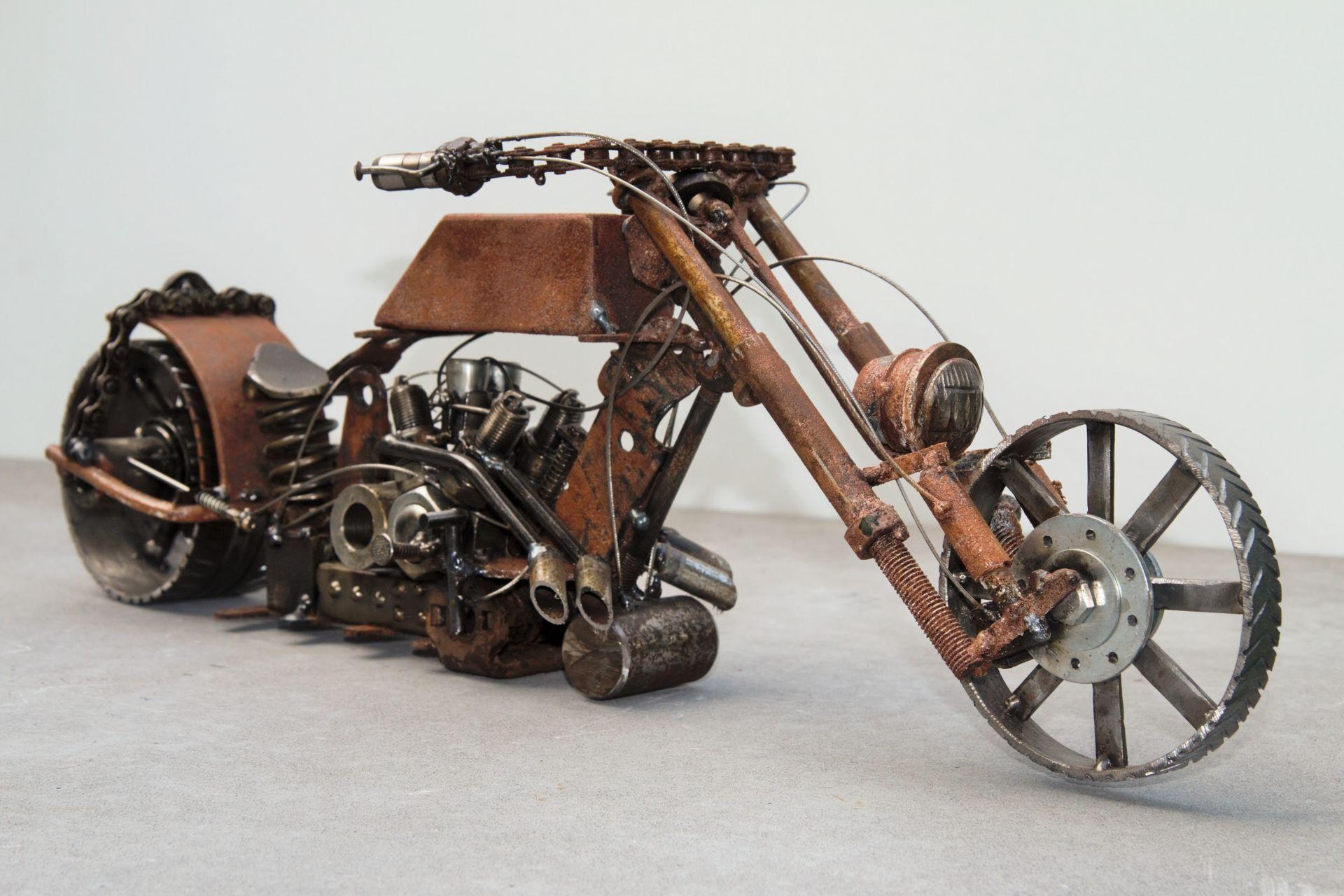 JSZ Metal Art Rad rod motorcycle Scrap metal art