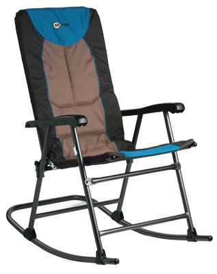 Outdoor Metal Folding Rocking Chair Padded Seat Portable Patio Camping  Rocker