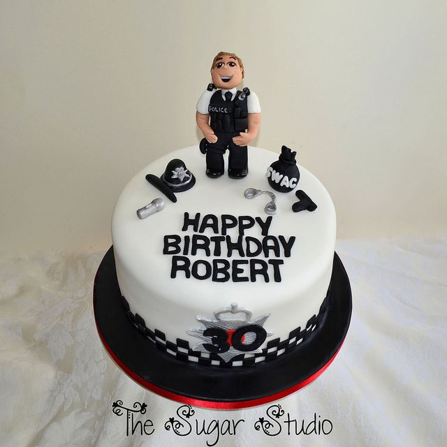 Policeman Cake Design : Policeman Police Officer 30th Birthday Cake With Handmade ...